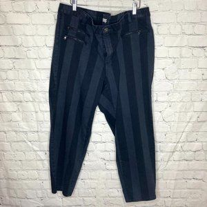 Parasuco black and blue/grey striped ankle jeans